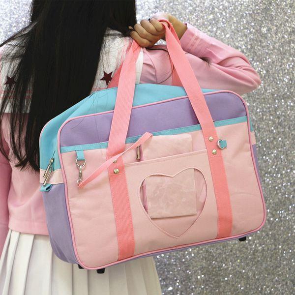 Pink Travel Bag Shoulder School Bags for Women Girls Weekend Beach Bag Canvas Large Big Luggage Handbags Totes Bolsas Preppy