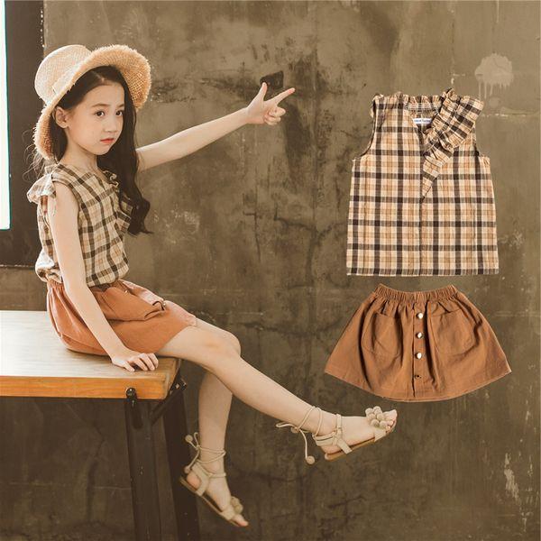 New Korean style children girls sleeveless Plaid Vest Tops + Skirt dress outfits 2pcs Set baby Kids Clothing free shipping