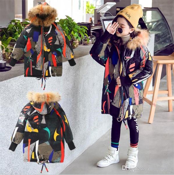 top popular Kids designer clothes girl big children's cotton coat warm thick geometric hooded boys casual large fur collar coat cotton coat 2021