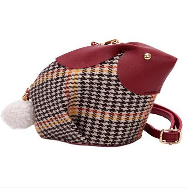 Design Women Small Mini Rabbit Bag Lady Messenger Bag Split Leather Handbags For Female Cute Plaid Bags Bolsas