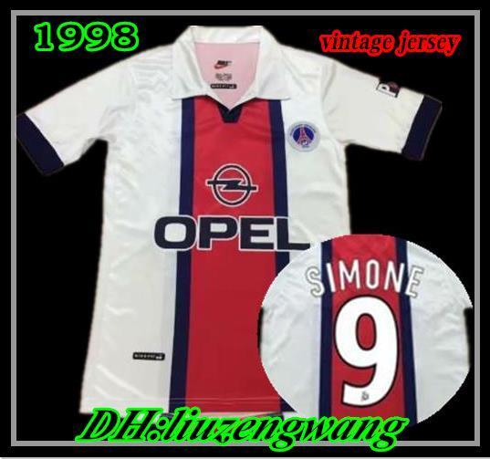 Maillot PSG 1998 maillot de foot blanc extérieur Simone Okocha porté Goma Ducrocq 98 99 Paris Maillot de Foot Classique Maillots de foot Vintage