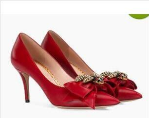 Sıcak Bayanlar parti Bayanlar Yüksek Topuk Ayakkabı Sivri Burun Papyon Metal Arı Lüks Ayakkabı Hakiki Deri Moda Yeni Bahar Ayakkab ...