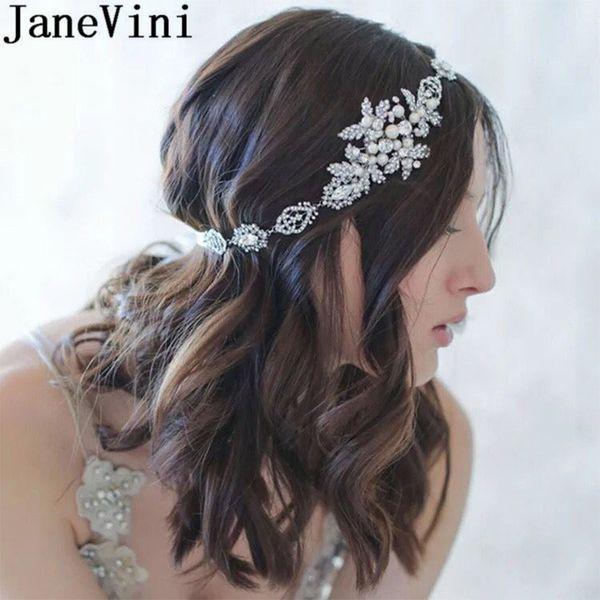 JaneVini Bohemia Princess Headbands Women Hair Accessories Pearl Bridal Headpiece Boho Wedding Bride Tiaras Silver Crystal Jewelry