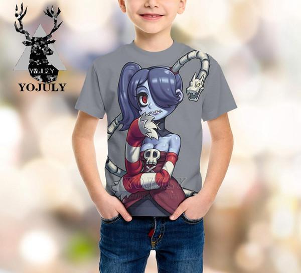 YOJULY Skullgirls harajuku baby boys girls teens 3D print kids clothes children's t shirt hot sale Fashion Top tees Modis A369
