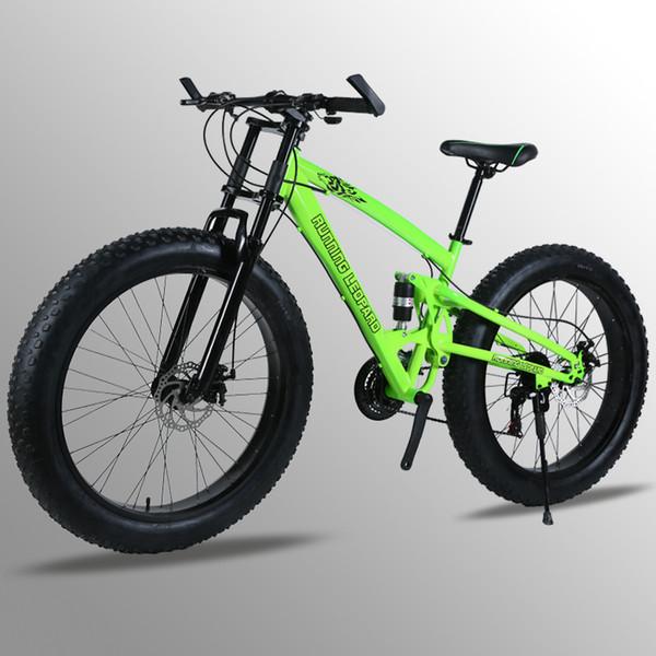 "7/24/27 Speed 26x4.0"" Fat bike Mountain Bike Snow Bicycle Shock Suspension Fork bicicleta Front and Rear Mechanical Disc Brake"