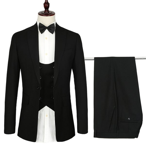 2020 French design mens suits 3 piece euro size Formal Skinny black Wedding suit for men Tuxedo Gentle Modern Blazer sets