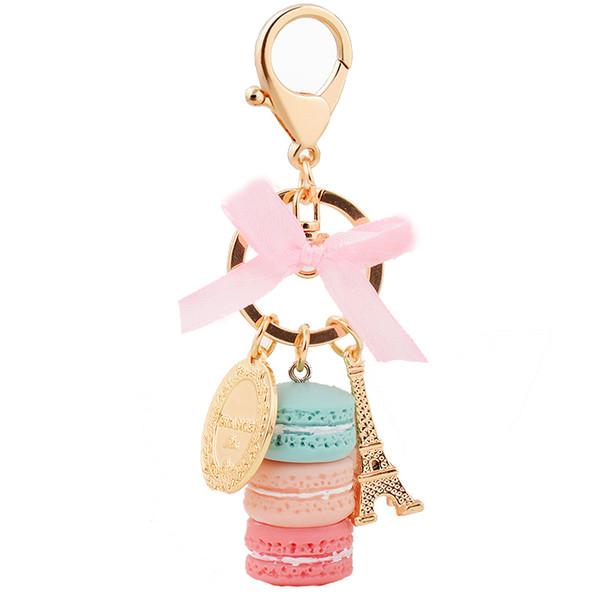 EASYA Fransa Paris 5 Renk Sevimli Macaroon Effiel Kule Makaron Anahtarlık Renkli Anahtarlık Çanta kolye Araç Charm Anahtarlık