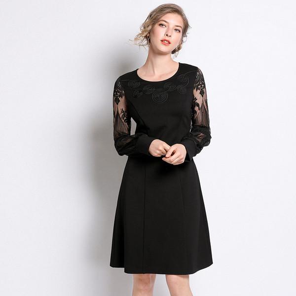 4xl 5xl Plus Size Black Lace Dress Long Sleeve Women Elegant Evening Party  Dress 2019 Spring Fashion Mini A Line Dresses Ukraine Black Tie Dresses ...