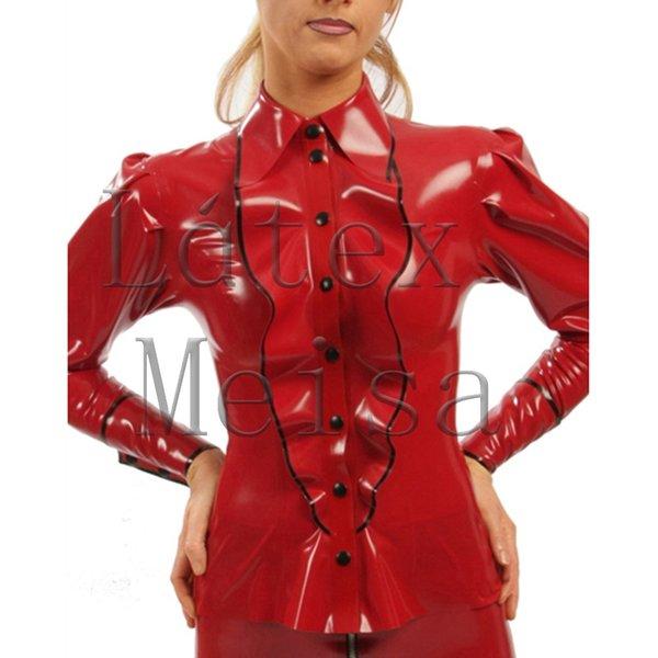 Blusas de látex de manga larga para mujer estilo señora de oficina y decoradas con botones delanteros principales en rojo con detalles en negro.