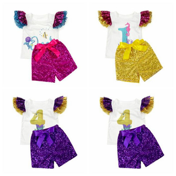 Baby Girl Clothes Kids T-Shirts Sequins Shorts Suits Fly Sleeve Tops Glitter Pants Outfits Short Sleeve Tees Bow Pants Clothing Sets B5903