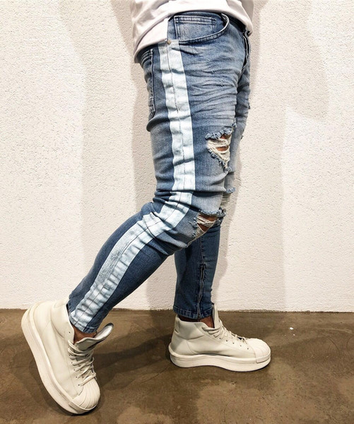 New Fashion Distressed Men Summer Hole Lightweight Jeans Men Fashion Casual Solid Classic Straight Denim Designer Jeans 28-38