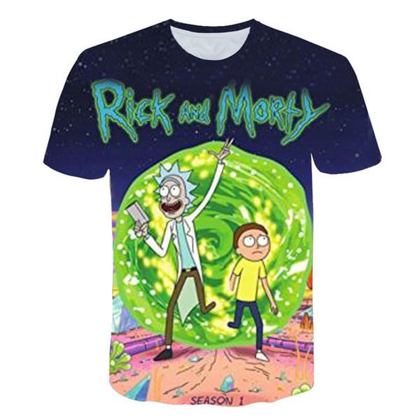 Rick e morty 3d impressão digital mens designer tshirts verão de manga curta o-pescoço moda mens tops