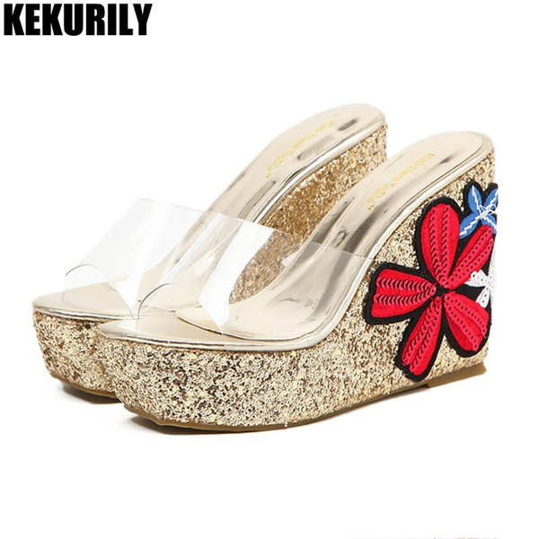 2d160ded64aa43 Platform Mules Woman flower Wedges Slippers Transparent Slides glitter  bling high heels Shoes summer zapatos mujer silver gold