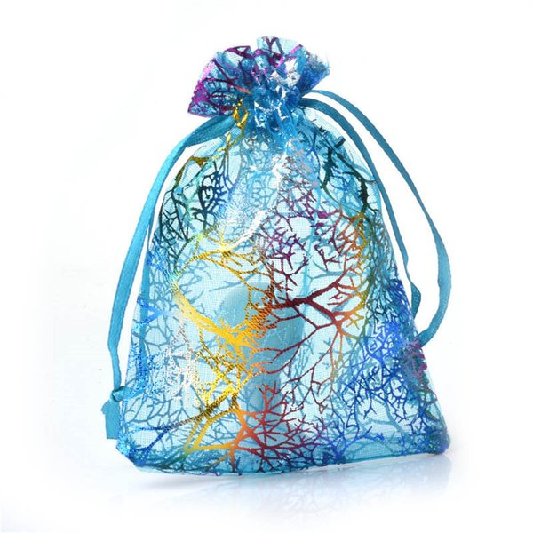 20pcs/lot 9*12cm Blue Coral Pattern Organza Bags Drawable Jewelry Pouches Kid's Cute Candy Bags Wedding Party Gift Accessories 8