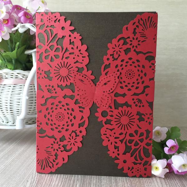 25 Teile / los Hochzeitseinladungskarten Umhüllen Hohl Skulptur Schmetterling Luxus Zeremonie Festival Einladungen Karten Geburtstagsfeier