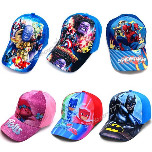 Niños Gorras Marvel Avengers Spiderman Trolls Sombreros Gorras Niños Gorras de béisbol Niños niñas Princesa de dibujos animados Sombreros para el sol