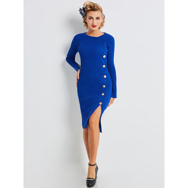 Sweater Dress Women Autumn Winter Vintage Simple Elegant Stylish Blue Sexy Bodycon Split Ladies Street Casual Knitted Dresses