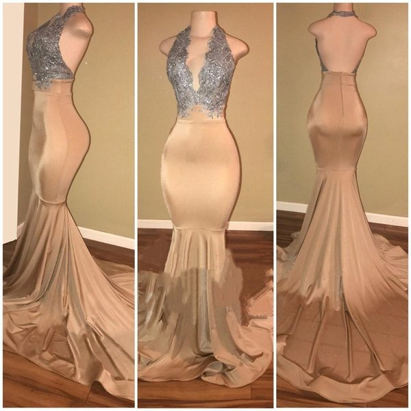 2019 Champagne Mermaid Prom Dresses Sexy Halter Silver Lace Sequins Backless Long Sweep Train Formal Evening Gowns Custom Made BA7774