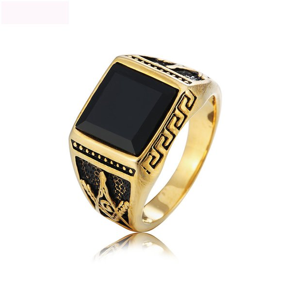 Black agate jewelry rings vintage big gemstone gold color titanium steel ring titanium steel ring casting ring for man free shipping
