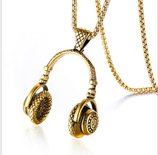 Stainless steel earphone Necklace Titanium Steel Hip Hop Necklace Pendant