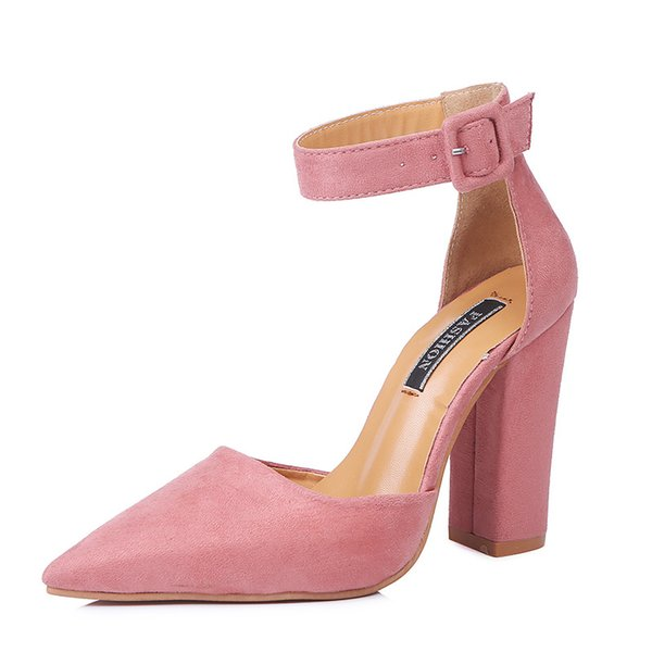 New Explosion Models Ladies Sandals Europe and The United States Fashion Large Size Pointed Female Thick with High Heels Buckle Casual Shoes