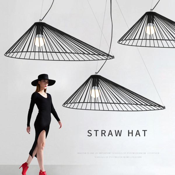Modern minimalist hasır şapka hollow tasarım avizeler E27 kolye lambaları Nordic yaratıcı siyah demir aydınlatma ev dekorasyon LED kolye ışık