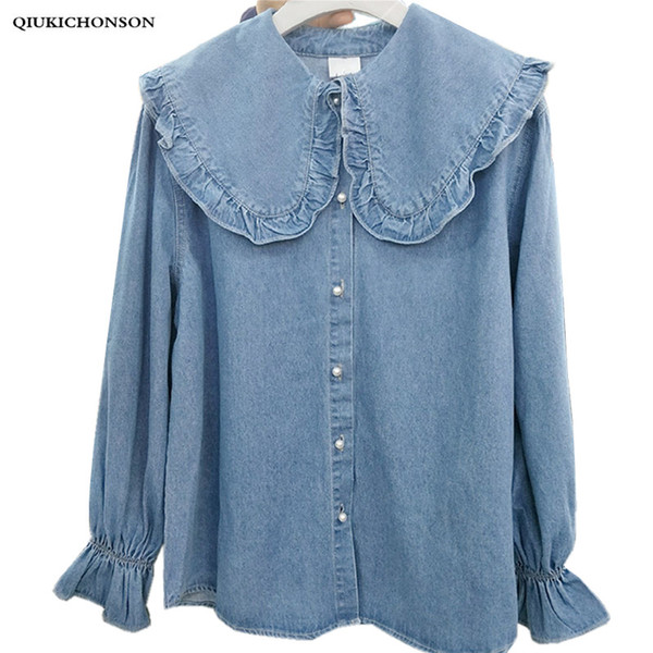 Korean fashion fresh preppy style frilled big peter pan collar long sleeve denim shirt women kawaii tops camisa jeans feminina