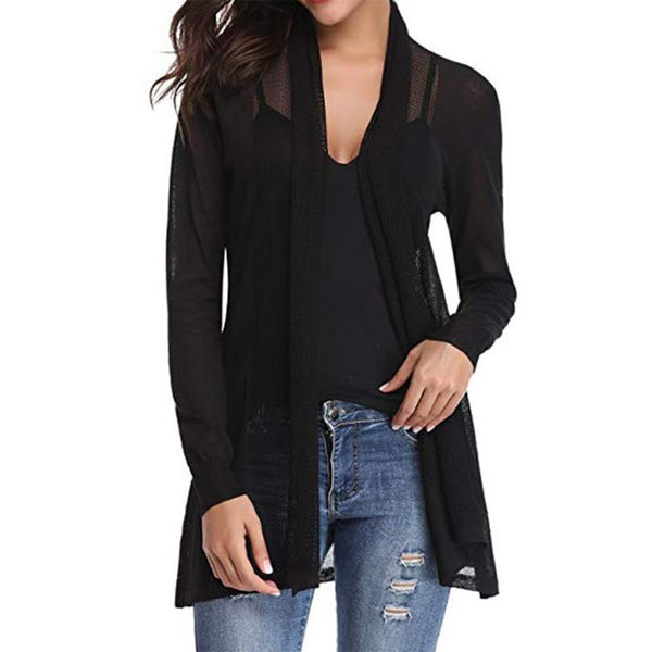 Autumn Open Front Long Sleeve Daily Fashion Simple Casual Mesh Solid Vacation Sunscreen Lightweight Gift Women Cardigan