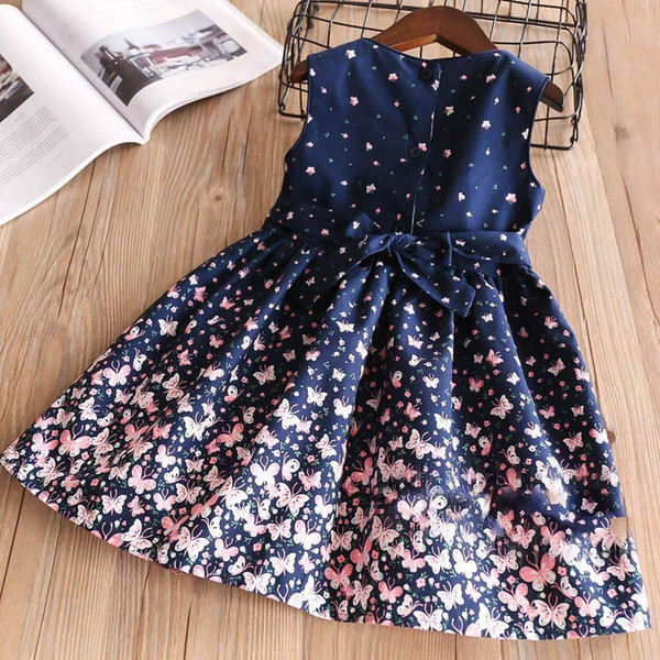 New Girls Bow papillon Floral Floral Dress Belles Enfants Bleu Couleur Vêtements Princess Western Fashion Printemps Eté Robe