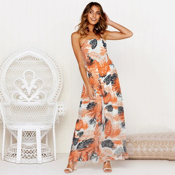 Gothic Floral Print Strapless Jumpsuit Women Casual Sleeve Sexy Lace Up Bandage Women Jumpsuit Elegant Wide Leg Pants Overalls