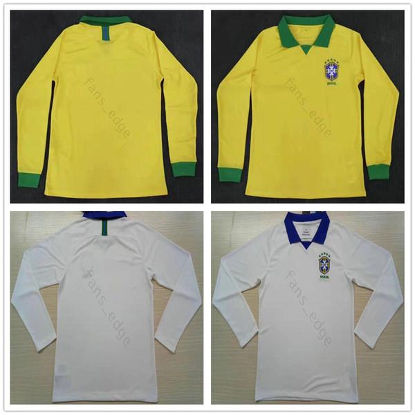 2019 2020 Brasil Long Sleeve Soccer Jerseys 10 PELE RONALDINHO COUTONHO G.JESUS MARCELO Custom Brazilian Home Yellow White Football Shirt