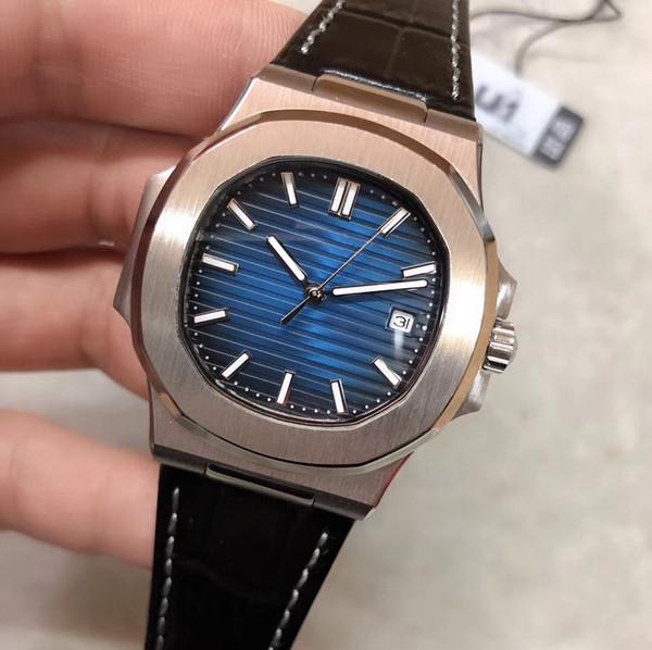 Neue Art U1 Fabrik 41 MM Automatische Bewegung Herrenuhren Hochwertigen Mann Armbanduhren Blau Oval Dial Lederband Transparent Zurück