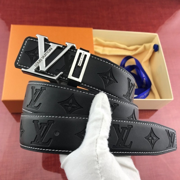 New brushed steel buckle leather embossed 3.8cm set counter box hf Mens Belt Authentic Official Belt With Box