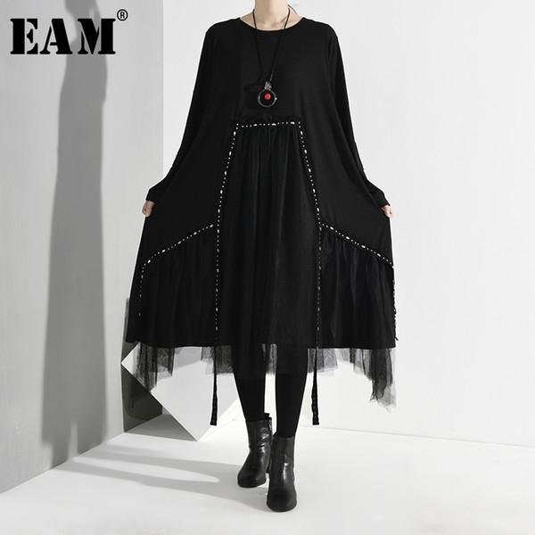 [EAM] Femmes Noir Mesh Robe asymétrique de Split New col rond manches longues Loose Fit Fashion Spring Tide Automne 2019 1D7570