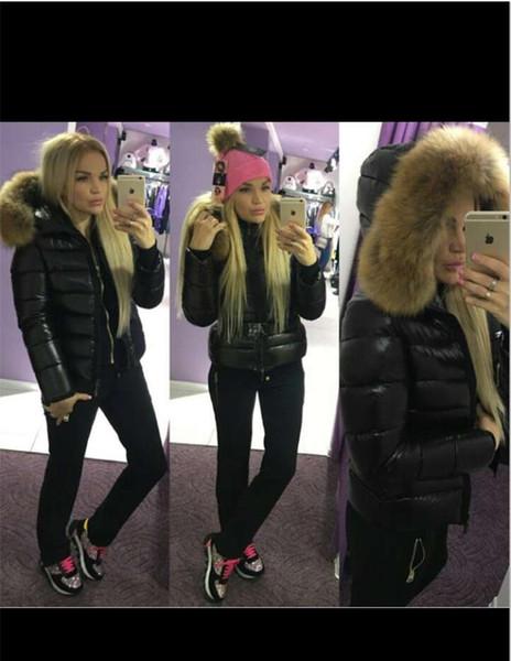 França moda com cinto estilo slim parkas mulheres inverno para baixo jaqueta senhoras anorak 100% real grande pele de guaxinim para baixo casaco