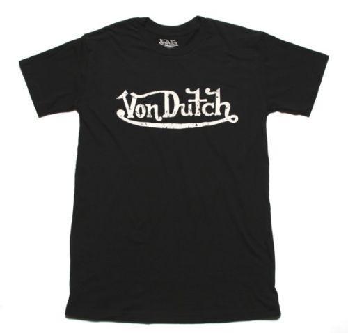 Nouveau Authentic Von Dutch Signature Shirt noir et blanc ajusté 2018 de coton noir et blanc pour hommes t-shirt 100% coton cool bel été t-shirt Tops