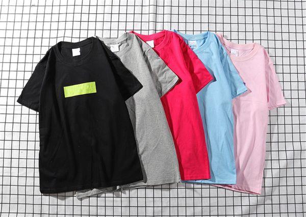 Hot Cool Loose Summer Street Wear Shirt Individual Short Sleeves Tee Pure Blue Block Printing Hip Hop Fashion Men Women T-shirts