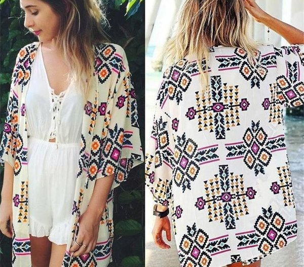 Nuovo arrivo 2019 donne di estate adattano chiffon camicetta cardigan Beach kimono della stampa sexy Abbigliamento taglie forti partito Club camicetta