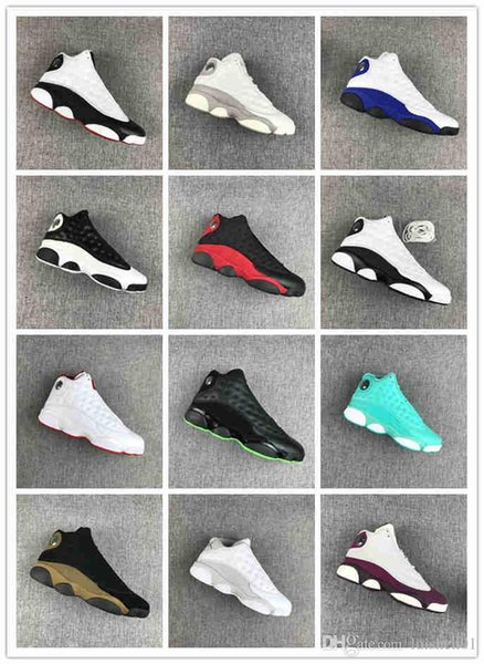 2019 13 13s men's basketball shoes Atmosphere Grey Terracotta red and black multi-color joint name black cat Designer men woman shoes c01