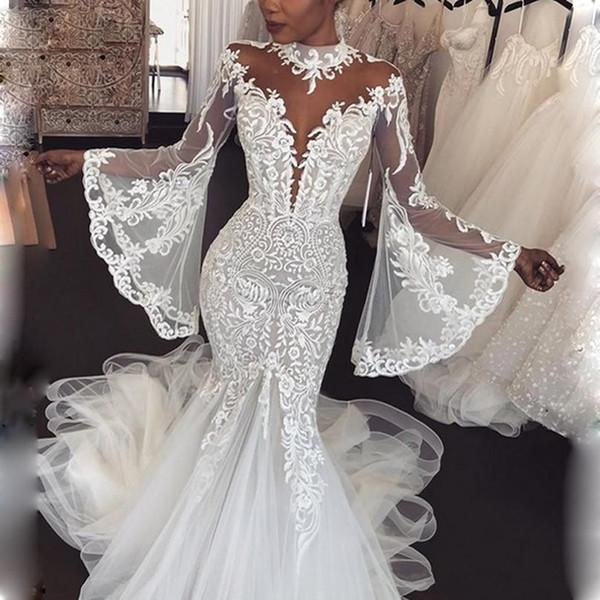 Dubai Arabic High Neck Mermaid Wedding Dresses With Sheer Neck High Neck Appliques Lace Full Sleeves Bridal Dress vestido de noiva