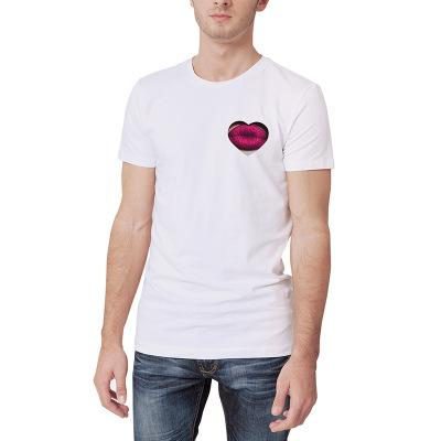 100% Cotton Plus Size 3XL Sexy Red Lips Printed Men T Shirt Slim Fit Male Summer Tee Tops Short Sleeve White Man T-shirts