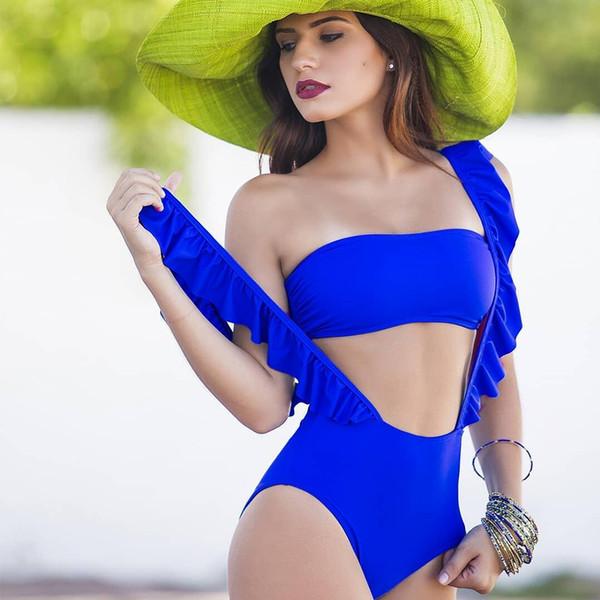 Sexy Women Bikini Set Solid Bikini Set Top Bra Ruffle Shoulder Girdle High Waist Briefs Swimsuit Two-pieces
