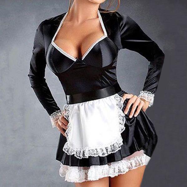 Plus Size Empregada Doméstica Lingerie PVC 3XXXL Mulheres Poron Lingerie Uniforme Preto Empregada Doméstica Servant Lolita Traje Vestido
