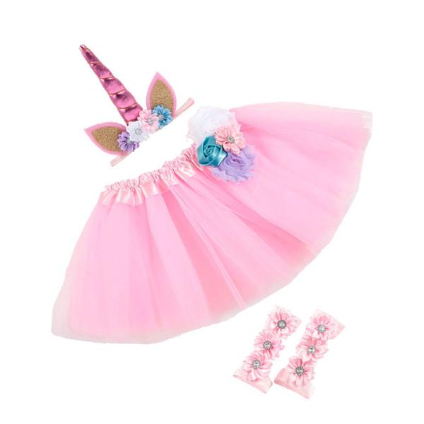 Bebês infantis 3 pcs Set Partido Fotos Roupas Set Flores Unicórnio Headband + Lace Tulle Tutu Saia + Cobrir Descalço Primeiro Walker Sapatos 219