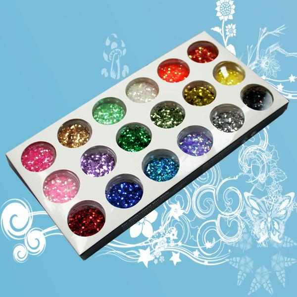 best selling 12 18 24 Color Octagon Mix Glitter Powder small Glitter Powder paillettes Nail Art Decoratio NA027B