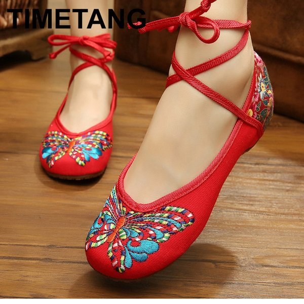 Dress Shoes TIMETANG 2019 New Butterfly Printed Ethnic Ankle Strap Low Increasing Heels Female Casual Lace Up Cotton Fabric Ladie E278