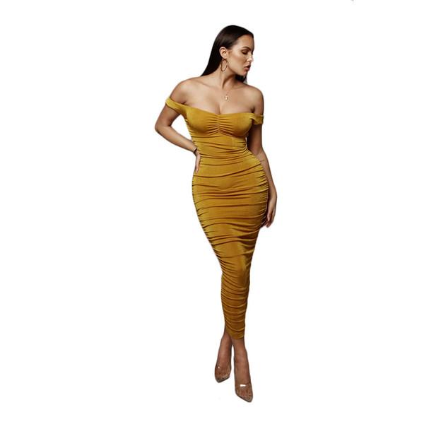 Designer Women Summer Dress Sexy & Club Brand Women Nightclub Party Luxury Pleated Dress Collar Strapless Skirt 4colors S-2XL Wholesale