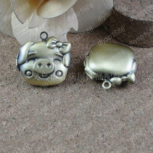 10pcs 25*25MM Antique bronze pig piglet photo locket charms vintage metal picture frame pendants necklace bracelet earring jewelry making