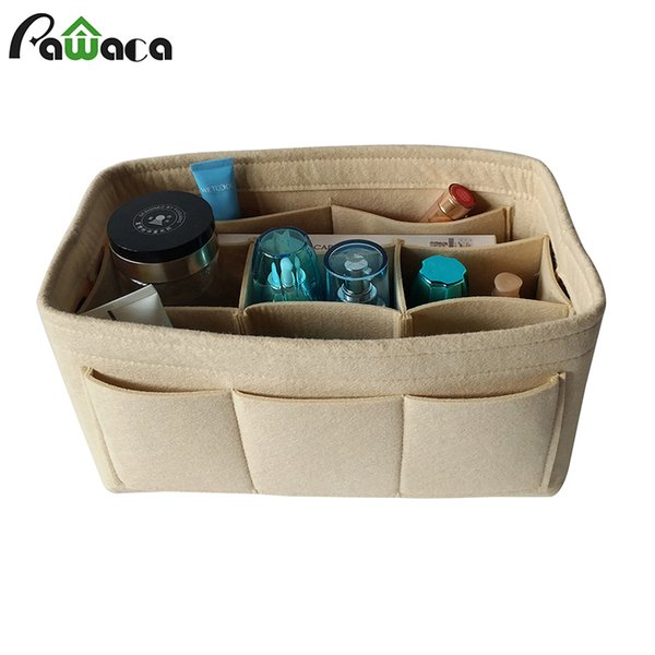 Felt Handbag Tote Purse Cosmetic Makeup Storage Organizer Foldable Travel Storage Bags Multiple Pockets Office Desk