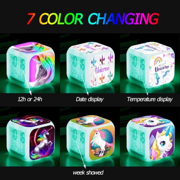 Crianças dos desenhos animados unicórnio unicórnio digital despertador multifuncional 7 mudança de cor led room cube relógios data semana temperatura